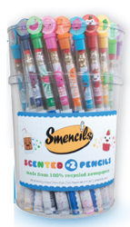 gourmet scented pencils made from 100 recycled newspapers packaged in its own corn based biodegradable freshness tube smencils
